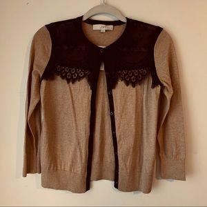 Loft lace shoulder tan buttoned cardigan